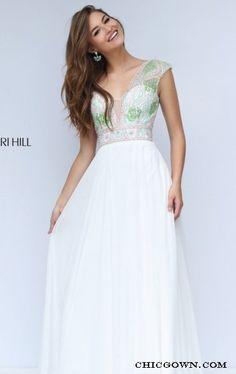 Beaded Open Back 2016 Long Sherri Hill 50164 White Prom Dress