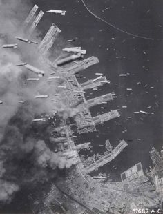 Bombs raining down on Kobe during the Second World War. The bombing of Kobe in World War II on March 16 and 17, 1945 was part of the strategic bombing campaign waged by the United States of America against military and civilian targets and population centers during the Japan home islands campaign in the closing stages of World War II.