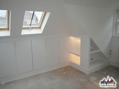 Loft conversion bedroom with ensuite, Putney, London SW15 - Love this idea for using the slopes
