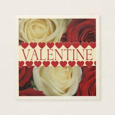 Red romantic valentine rose paper napkin