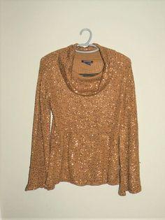 Boston Proper Cowl Neck Sequin Sweater Sz S 6/8 #BostonProper #CowlNeck #Holiday