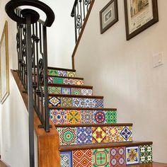 Vinilos decorativos - Azulejos para Escaleras con Patrones de Talavera - hecho a mano por Wall-Decals en DaWanda