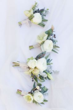 White ranunculus boutonnieres, Mountain Wedding Boutonnieres by La Rue Floral, Photography By Maria Harte Photography