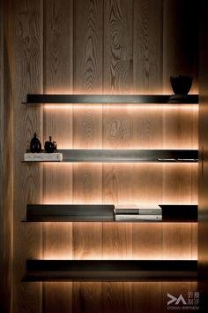 Floating shelves with lighting led lights shelving light you can achieve th Floating Shelves With Lights, Wall Design, Led Lights, Bookshelf Lighting, Wooden Walls, Shelves, Led Shelf Lighting, Interior Lighting, Lights