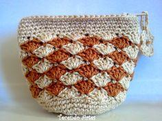 Monedero crochet con rombos | Crochet y Dos agujas