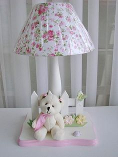 velador infantil Diy Gift Box Template, Lamp Shade Crafts, Country Lamps, Kids Lamps, I Love Lamp, Clay Design, Diy Hair Bows, Shabby Chic Homes, Baby Decor