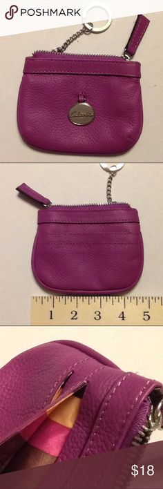 Clarks Magenta Leather Coin Purse Key Chain Pink All leather coin purse by Clarks. In magenta pink with poly stripe lining. Zips closed with 2 card slots on the back. Quality product in great shape. Clarks Accessories Key & Card Holders