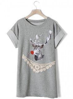Elk Crochet Pearly T-shirt Grey