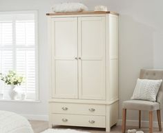 Buy the Somerset Oak and Cream Two Door Two Drawer Wardrobe at Oak Furniture Superstore