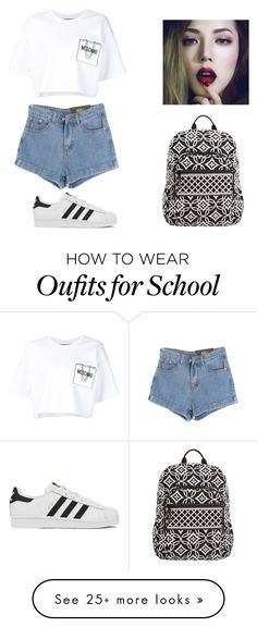 """School?"" by tumblr-outfits12 on Polyvore featuring Chicnova Fashion, Moschino, adidas, Vera Bradley, women's clothing, women, female, woman, misses and juniors"