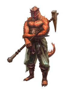 Red Dragonkin Half-Dragon Fighter Barbarian Warrior - Pathfinder PFRPG DND D&D d20 fantasy