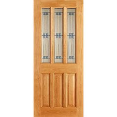 The Chateaux Regal Oak door with leaded safety glass. Oak Front Door, Wooden Front Doors, Sliding Patio Doors, Composite External Doors, Glazed External Doors, Glazed Fire Doors, White Bifold Doors, Walnut Doors, Houses
