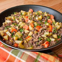 Skillet Ground Beef Stew  Made this for dinner LOVED it How I changed it: Added yellow onion wedges, did not use flour, heavy cream or mustard, added red chili flakes, and only used 1 cup of beef stock added