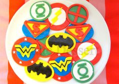 Justice League Edible SUPERHERO Cupcake Toppers -  Super Hero cupcakes -  Fondant cupcake toppers - COMIC BOOK Cupcakes (12 pieces) on Etsy, $30.00