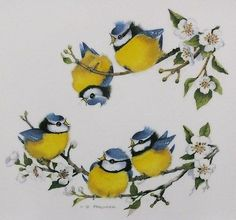 Vintage Melamaster tray Blue Tits In Blossom, V Pfeiffer cm) square Cute Animal Drawings, Art Drawings, Blue Tit, High Art, Bird Pictures, Vintage Birds, Watercolor Animals, Learn To Paint, Whimsical Art