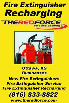 Fire Extinguisher Recharging Ottawa, KS (816) 833-8822 We're The Red Force Fire and Security. Call Today and Discover the Complete Source for all Your Fire Protection!
