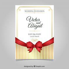 金色の要素を持つスタイリッシュな結婚式の招待状 無料ベクター