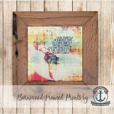 Emerson Quote to Be Yourself Framed in Reclaimed Barnwood... ($42) ❤ liked on Polyvore featuring home, home decor, wall art, home & living, home décor, silver, wall décor, inspirational wall art, framed quotes wall art and handmade wall art