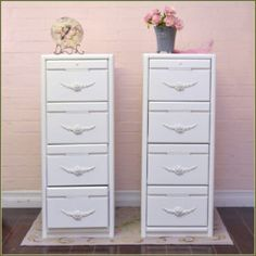White Wood 4 Drawer File Cabinet