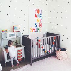 You make me happy when skies are gray. Playtime in the nursery for this little lady. Room and banner from @raisingmissmatilda   #rainbow #youaremysunshine #nursery #playroom