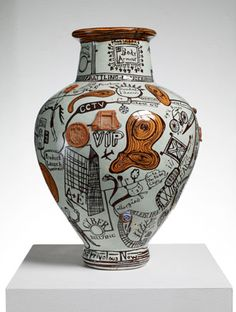 "Grayson Perry-The Frivolous Now-The Tomb of the Unknown Craftsman-British Museum ""the ways artifice could be deployed to make the innocent or honest pot have a purpose and mean something"" Grayson Perry, Ceramic Clay, Ceramic Pottery, Pottery Art, Glazed Ceramic, Wallpaper Magazine, Ceramics Projects, Contemporary Ceramics, Contemporary Art"