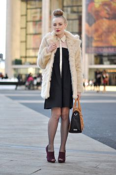 fur coat with classic outfit