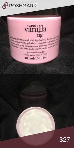 Philosophy Sweet Vanilla Fig glazed body soufflé Super Size... Sweet Vanilla Fig glazed body soufflé exclusive scent.. super lightweight... melts into your skin glistening glow absorbs nicely into skin... no shimmer.. super softening to skin... unused no box Philosophy Other
