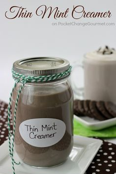 The perfect combination of chocolate and mint, this Thin Mint Creamer adds that extra special flavor to your morning coffee or latte. And with only 3 Chocolate Almond Milk, Dark Chocolate Almonds, Hot Chocolate, Keto, Homemade Coffee Creamer, Thin Mint Coffee Creamer Recipe, Thin Mints, Coffee Recipes, Coffee Drinks