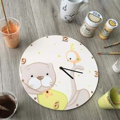 Baby Painting, Painting On Wood, Baby Gift Box, Baby Gifts, Lama Animal, Wall Clock Nursery, Clock For Kids, Baby Posters, Diy Clock