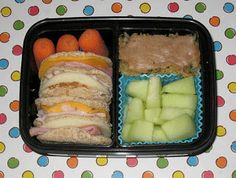 BentoLunch.net - What's for lunch at our house: 5 Simple Sandwich Spins Bento #5 - Slider/Stacker Sandwiches