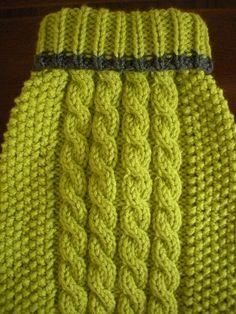 Suéter de perro  Cable Knit  manzana verde con ribete gris