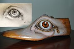 George Eliades  painting & jewellery: Cyclops, 2013 oil on old wooden shoe trees -      ...