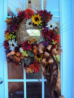 Beautiful Hand Crafted Fall Autumn Tuscan Thanksgiving Cornucopia wreath KreativelyKrafted