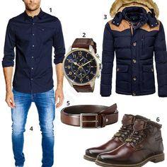 Elegantes Herrenoutfit mit dunkelblauem Tommy Hilfiger Hemd (m0771)