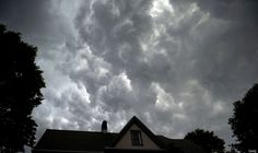 Storm clouds move overhead in the Bronx