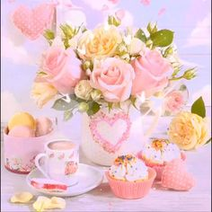 Have a beautiful day 🤍☕️🌸🌷💐🤍