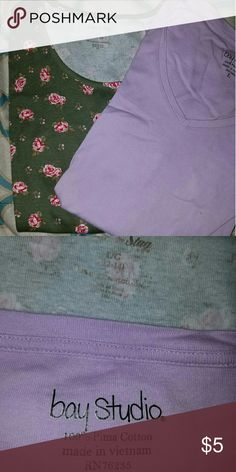 Bundle of two tshirts Cute green flowered tshirt and a lavender tshirt.  Gently used but in great condition! Faded Glory and Bay Studio Tops Tees - Short Sleeve