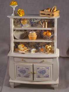 Items similar to Dollhouse Miniature Vintage Shabby Chic Cream French Styled Hutch Scene - scale on Etsy Vitrine Miniature, Miniature Dollhouse Furniture, Miniature Rooms, Miniature Kitchen, Miniature Houses, Dollhouse Miniatures, My Doll House, Doll Houses, Mini Kitchen