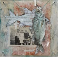 Fishing Trip - Katherine McClure. 8 x 8 inches. Mixed media on raised wood panel. $225 #fishing #fish #pescar