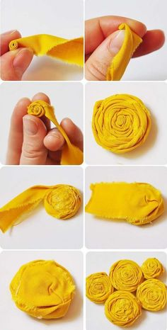 Sewing Fabric Flowers Rolled fabric flower - how to make a fabric rosette Rolled Fabric Flowers, Fabric Rosette, Fabric Flower Tutorial, Cloth Flowers, Fabric Ribbon, Felt Flowers, Fabric Art, Diy Flowers, Fabric Crafts