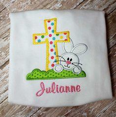 Hey, I found this really awesome Etsy listing at https://www.etsy.com/listing/216875596/girl-easter-cross-bunny-shirtapplique