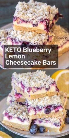 Keto Blueberry Lemon Cheesecake bars are the ultimate four layer keto dessert At about 5 5 net carbs per bar you won t believe how decadent these are Lemon Blueberry Cheesecake, Lemon Cheesecake Bars, Cheesecake Recipes, Classic Cheesecake, Homemade Cheesecake, Chocolate Chip Cheesecake, Vegan Cheesecake, Cheesecake Bites, Cheesecake Desserts