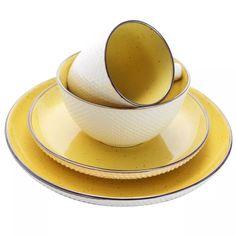 Yellow Dinnerware, Dinnerware Sets, Earthenware, Stoneware, Yellow Interior, Mellow Yellow, Salad Plates, Dinner Plates, Tea Pots