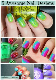 5 Awesome Nail Designs I am dying to try! Except the flamingo... I will pass on that one...