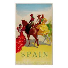 Vintage Travel Poster, Spain