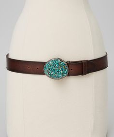 Another great find on #zulily! Turquoise & Brown Leather Buckle Belt #zulilyfinds