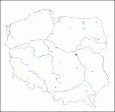 mapa konturowa Polski z miastami
