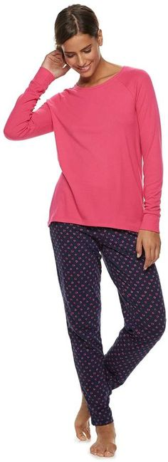 4aa2adc526 Sonoma Goods For Life Women's SONOMA Goods for Life Ribbed Tee & Pants  Pajama Set #