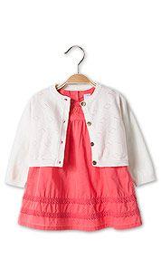 Vestito neonata in bianco / rosa c&a 25E