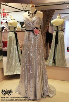 Silver sequin corseted gown with black velvet waistband, black tulle and pink rose by Rockstars and Royalty